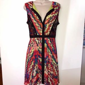 GIBSON  LATIMER colorful zip back dress w/lace